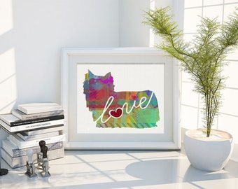 Yorkie With Long Hair Art Print - A Watercolor Style Modern Wall Art Print and Gift for Dog Lovers