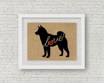 Shiba Inu (Shiba-Inu) Love - Burlap or Canvas Paper Dog Breed Wall Art Decor Print & Gift for Dog Lovers Can Personalize w/ Name (101s)