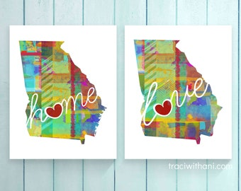 Georgia Love & Home: Instant Digital Download Watercolor Style Wall Art Print