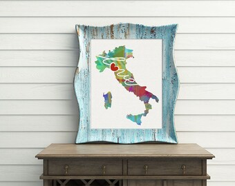Italy Love - Colorful Watercolor Style Wall Art Print & Home Country Map Artwork - Travel, Moving, Engagement, Wedding, Honeymoon Gift