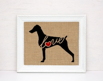 Doberman Pinscher Love (Natural Ears) -  Burlap Dog Breed Wall Art Home Decor Print - Gift for Dog Lovers - Personalize w/ Name (101s)