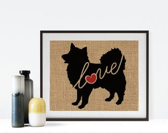 American Eskimo Love - Burlap or Canvas Paper Dog Breed Wall Art Home Decor Print Gift for Dog Lovers - Can Be Personalized with Name (101s)