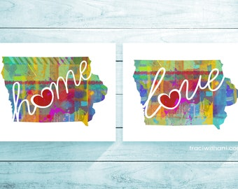 Iowa Love & Home: Instant Digital Download Watercolor Style Wall Art Print