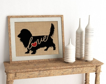 Long Haired Dachshund / Wiener Dog Love - Burlap Wall Print Decor Gift for Dog Lovers - Personalize Silhouette w/ Name - More Breeds (101s)