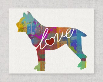 Cane Corso Love - A Whimsical Watercolor Style Gift for Dog Lovers - Home Decor Dog Breed Wall Art Print That Can be Customized With Name