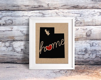 """Utah (UT) """"Love"""" or """"Home"""" Burlap or Canvas Paper State Silhouette Wall Art Print / Home Decor (Free Shipping)"""