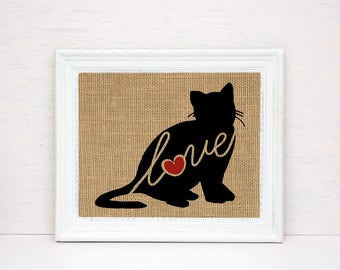 British Shorthair Cat Love - Burlap Print for Cat Lovers - Cat Memorial - Pet Loss Gift - Farmhouse & Rustic - Personalized Wall Art - 101s