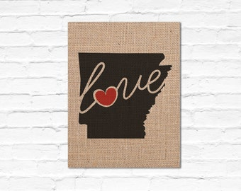 """Arkansas (AR) """"Love"""" or """"Home"""" Burlap or Canvas Paper State Silhouette Wall Art Print / Home Decor(Free Shipping)"""
