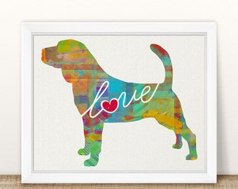Bloodhound Love - A Colorful Watercolor Print for Dog Lovers - Dog Breed Gift - Can Be Personalized - Pet Memorial - Pet Loss Gift