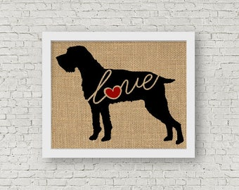 German Wirehaired Pointer  / GWP - Burlap Dog Breed Wall Art Decor Print - Gift for Dog Lovers - Can Be Personalized w/ Name (101s)