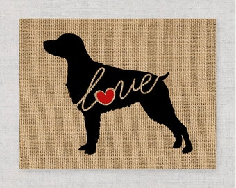 Brittany Spaniel - A Burlap Wall Art Print - Dog Lover Gift - Can Personalize With Name - Most Breeds Available - Rustic Silhouette (101s)