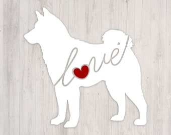 Shiba Inu Love: A Car Window Vinyl Decal - Laptop Sticker - Dog Breed Decals - Dog Stickers - Cooler Decal - Gift for Dog Lover