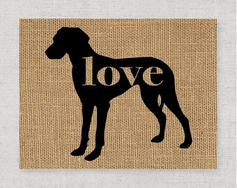 Great Dane With Natural Ears -Burlap or Canvas Paper Dog Breed Home Decor Print Gift for Dog Lovers - Can Be Personalized with Name (101p)