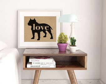 Pitbull / Pittie / Blue Nose w/ Docked Ears - Burlap Dog Breed Home Decor Print Gift for Dog Lovers - Can Be Personalized with Name (101p)