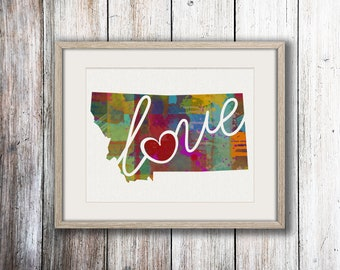 Montana Love - MT - A Colorful Watercolor Style Wall Art Hanging & State Map Artwork Print - College, Moving, Engagement and Shower Gift