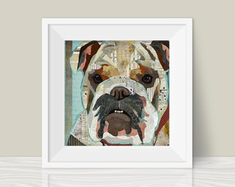 English Bulldog Art Print - A Mixed Media and Collage Style Modern Wall Art Print and Gift for Bully Lovers