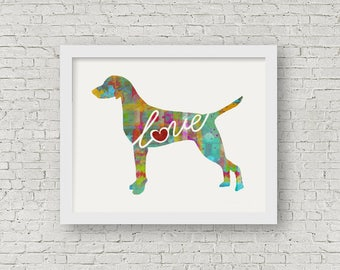 Vizsla Art Print - A Watercolor Style Modern Wall Art Print and Gift for Dog Lovers