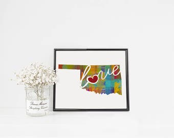 Oklahoma Love - OK - A Colorful Watercolor Style Wall Art Hanging & State Map Artwork Print - College, Moving, Engagement and Shower Gift