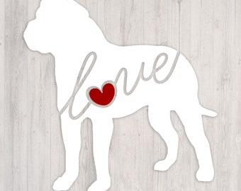 American Bulldog Love: A Car Window Vinyl Decal - Laptop Sticker - Dog Breed Decals - Dog Stickers - Cooler Decal - Gift for Dog Lover