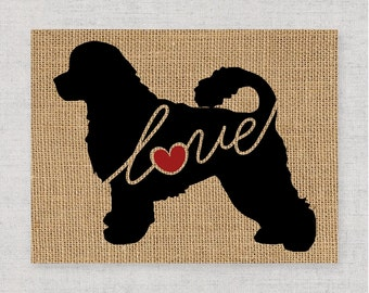 Portuguese Water Dog - A Black Silhouette Home Decor Print on Burlap or Paper Canvas Can be Personalized / Customized with Dog's Name (101s)