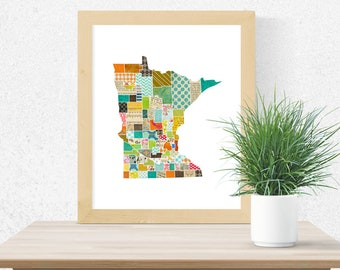 Minnesota Wall Art - A Modern Collage and Mixed Media Style Home Decor State Map