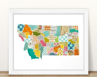 Montana Wall Art - A Modern Collage and Mixed Media Style Home Decor State Map