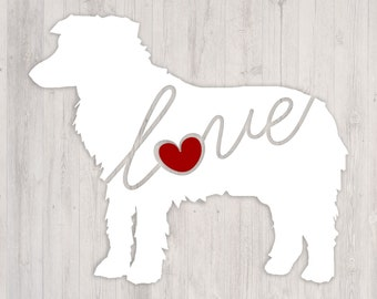 Mini Aussie Love: A Car Window Vinyl Decal - Laptop Sticker - Dog Breed Decals - Dog Stickers - Cooler Decal - Gift for Dog Lover