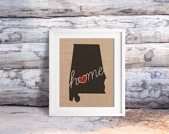 "Alabama (AL) ""Love"" or ""Home"" Burlap or Canvas Paper State Silhouette Wall Art Print / Home Decor (Free Shipping)"