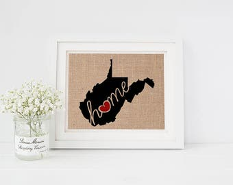 "West Virginia (WV) ""Love"" or ""Home"" Burlap or Canvas Paper State Silhouette Wall Art Print / Home Decor (Free Shipping)"
