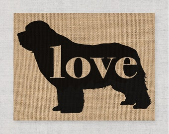 Newfoundland / Newfie - Black Silhouette Dog Wall Art Print on Burlap or Paper Canvas Can Personalize / Customize with Dog's Name (101p)