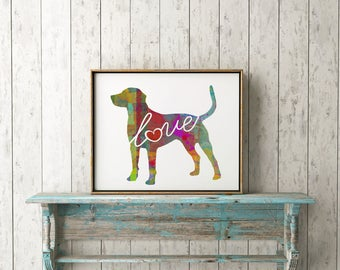 Catahoula Cur (Leopard Dog) Love - A Colorful Canvas Paper Print that Can Be Personalized / Customized with Pet's Name - Wall Art & Decor