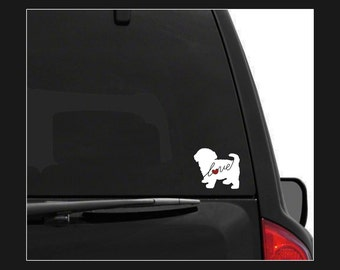 Maltipoo Love (Maltese / Poodle): Car Window Vinyl Decal - Laptop Sticker - Dog Breed Decals - Dog Stickers - Cooler Decal - Dog Lover Gift
