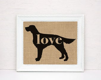 Irish Setter Love - Burlap or Canvas Paper Dog Breed Wall Art Home Decor Print - Gift for Dog Lovers - Can Be Personalized with Name (101p)