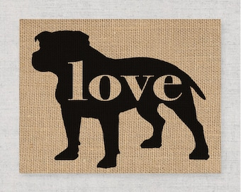 Pitbull / Pittie / Blue Nose w/ Natural Ears - Burlap Dog Breed Home Decor Print Gift for Dog Lovers - Can Be Personalized with Name (101p)