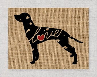 Dalmatian Love - Burlap or Canvas Paper Dog Breed Wall Art Home Decor Print - Gift for Dog Lovers - Can Be Personalized with Name (101s)