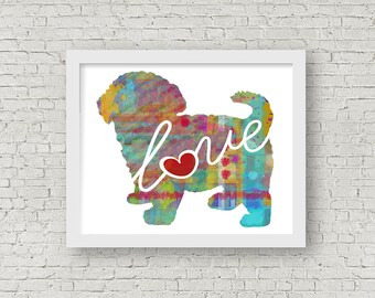 Maltipoo / Maltese / Poodle Art Print - A Watercolor Style Modern Wall Art Print and Gift for Dog Lovers