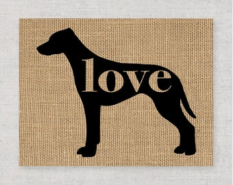 Rhodesian Ridgeback Love - Burlap or Canvas Paper Dog Breed Wall Art Home Decor Print - Gift for Dog Lovers - Personalize w/ Name (101p)
