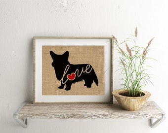 Cardigan Welsh Corgi Love - Burlap Home Decor Wall Art Print for Dog Lovers - Farmhouse Style Silhouette - Can be Personalized (101s)