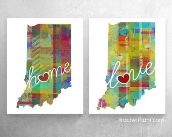 Indiana Love & Home: Instant Digital Download Watercolor Style Wall Art Print