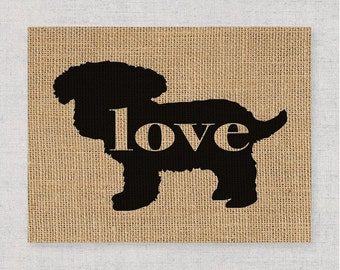 Toy Poodle (Teacup / Teddy Bear) - A Rustic Farmhouse Wall Art Hanging Home Decor Print on Burlap or Canvas Paper - Can Personalize (101p)