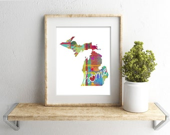 Michigan Love - MI - A Colorful Watercolor Style Wall Art Hanging & State Map Artwork Print - College, Moving, Engagement and Shower Gift