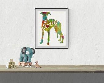 Whippet Art Print - A Watercolor Style Modern Wall Art Print and Gift for Dog Lovers