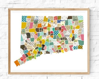 Connecticut Wall Art - A Modern Collage and Mixed Media Style Home Decor State Map