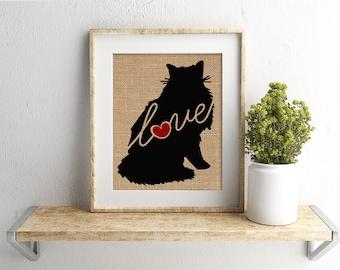 Norwegian Forest Cat Love - A Burlap Print for Cat Lovers - Cat Memorial - Pet Loss Gift - Farmhouse - Rustic - Personalized Wall Art - 101s