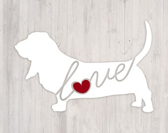 Basset Hound Love: A Car Window Vinyl Decal - Laptop Sticker - Dog Breed Decals - Dog Stickers - Cooler Decal - Gift for Dog Lover