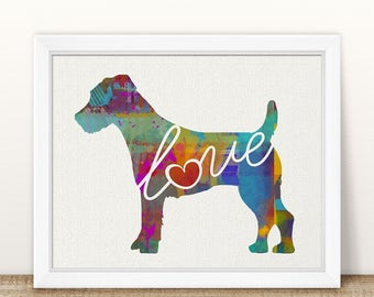 Jack Russell Terrier Art Print - A Watercolor Style Modern Wall Art Print and Gift for Dog Lovers