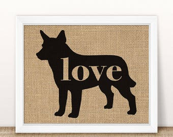 Australian Cattle Dog /Red Heeler - Burlap Dog Breed Home Decor Rustic Print - Gift for Dog Lovers - Can Be Personalized with Name (101p)