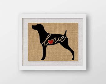 Weimaraner / Weim Love - A Burlap Wall Art Print for Dog Lovers - Can Personalize With Name, Most Breeds Available, Rustic Silhouette (101s)