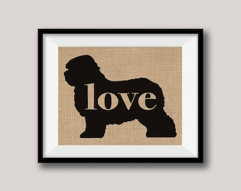 Old English Sheepdog Love - Wall Print on Burlap - Dog Memorial Pet Loss Gift - Rustic Farmhouse Home Decor - More Breeds / Add Name (101p)