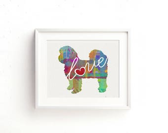 Shih Tzu (Shih-Tzu) Love With Short Hair - A Colorful, Bright & Whimsical Watercolor Print Home Decor Gift - Can Be Personalized